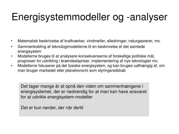 Energisystemmodeller og -analyser