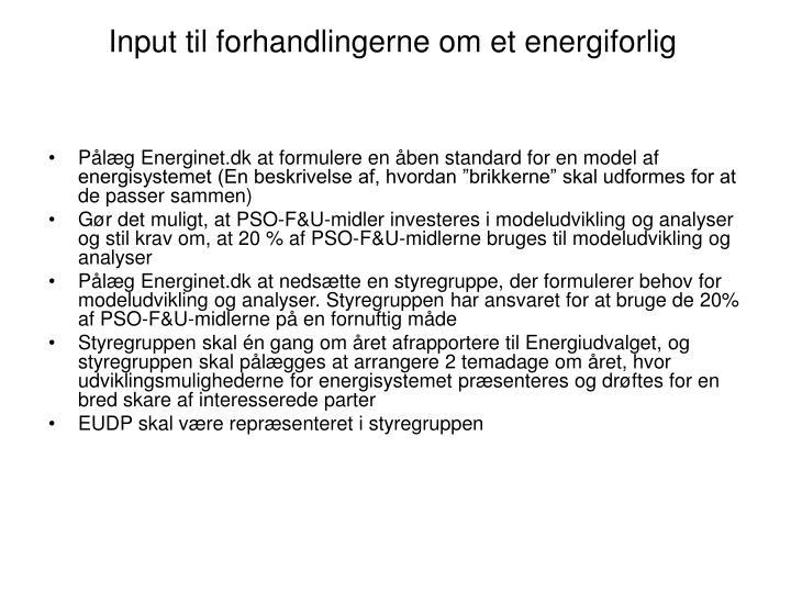 Input til forhandlingerne om et energiforlig