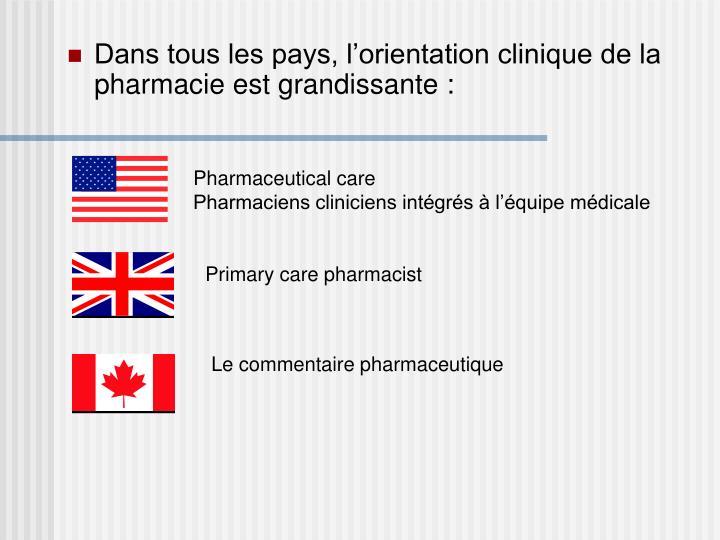 Dans tous les pays, l'orientation clinique de la pharmacie est grandissante :