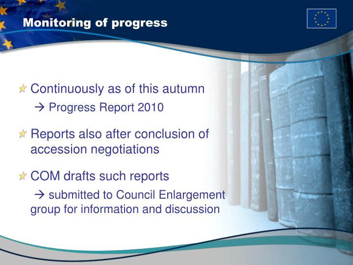 Monitoring of progress