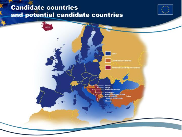 Candidate countries                                   and potential candidate countries