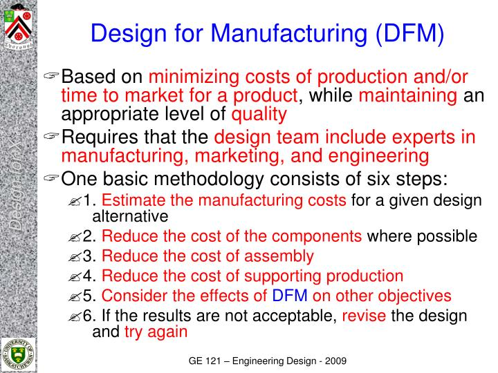 PPT - Engineering Design GE121 Design for 'X' PowerPoint ... - photo#11