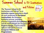 summer school in eu institutions and policies