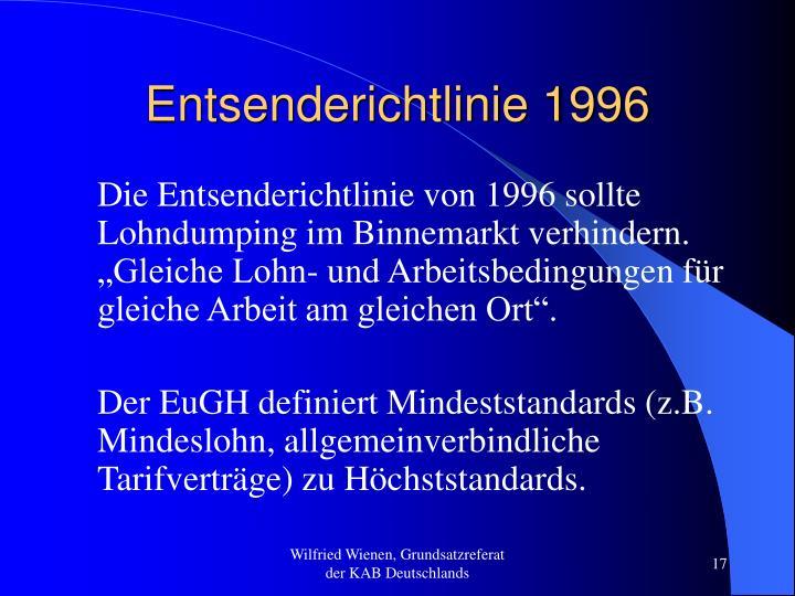 Entsenderichtlinie 1996