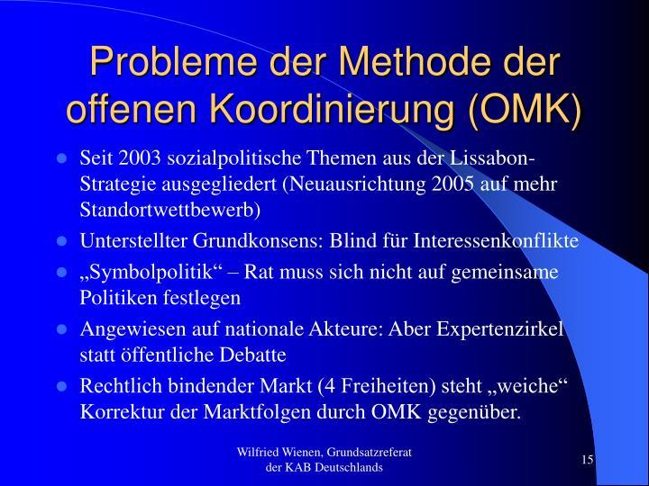 Probleme der Methode der offenen Koordinierung (OMK)