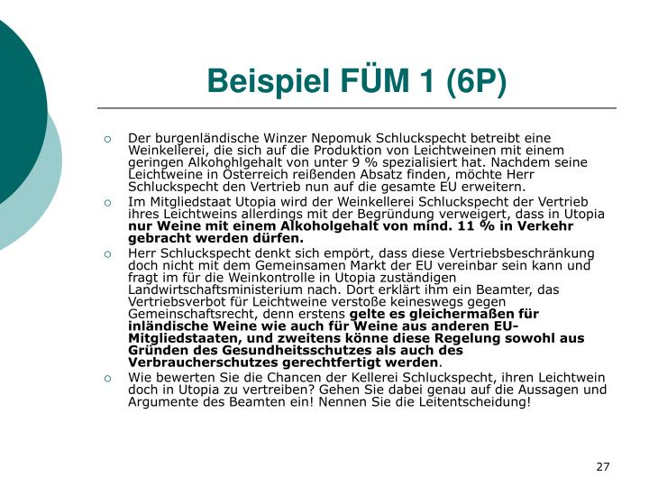 Beispiel FÜM 1 (6P)