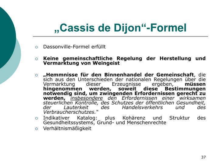 """""""Cassis de Dijon""""-Formel"""