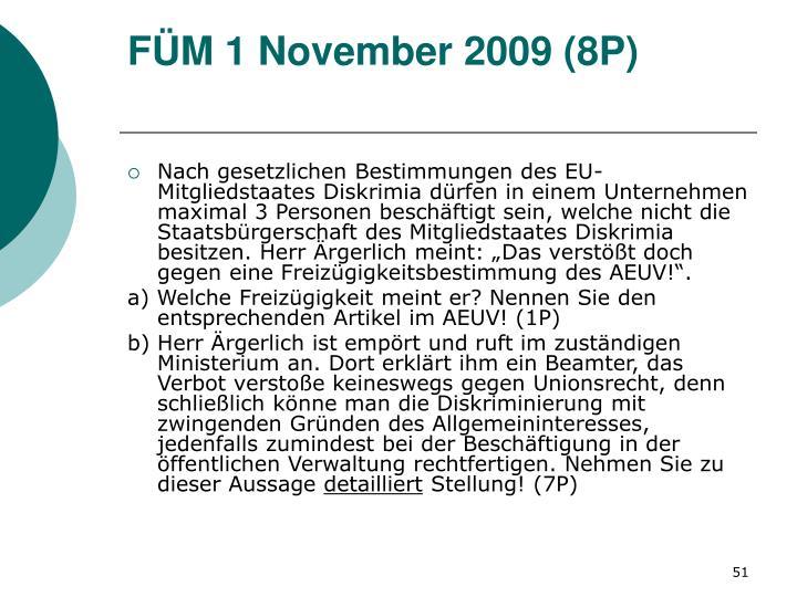 FÜM 1 November 2009 (8P)