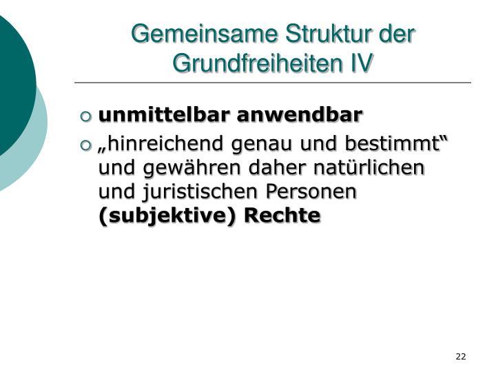 Gemeinsame Struktur der Grundfreiheiten IV