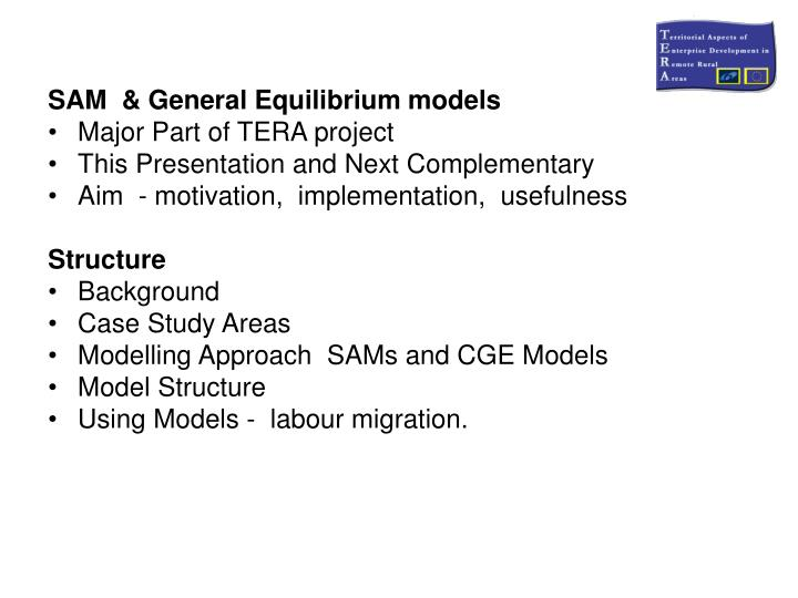 SAM  & General Equilibrium models