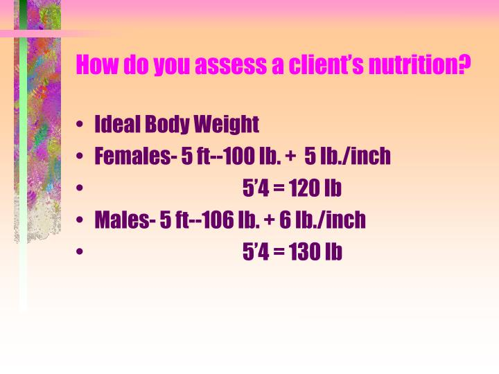 How do you assess a client s nutrition1
