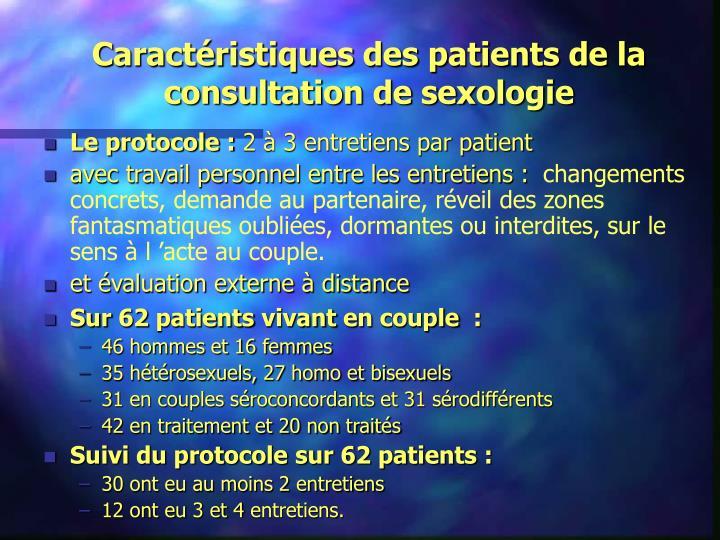Caractéristiques des patients de la consultation de sexologie