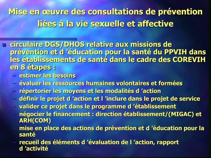 Mise en œuvre des consultations de prévention liées à la vie sexuelle et affective
