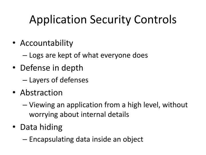 Application Security Controls