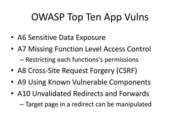 OWASP Top Ten App Vulns
