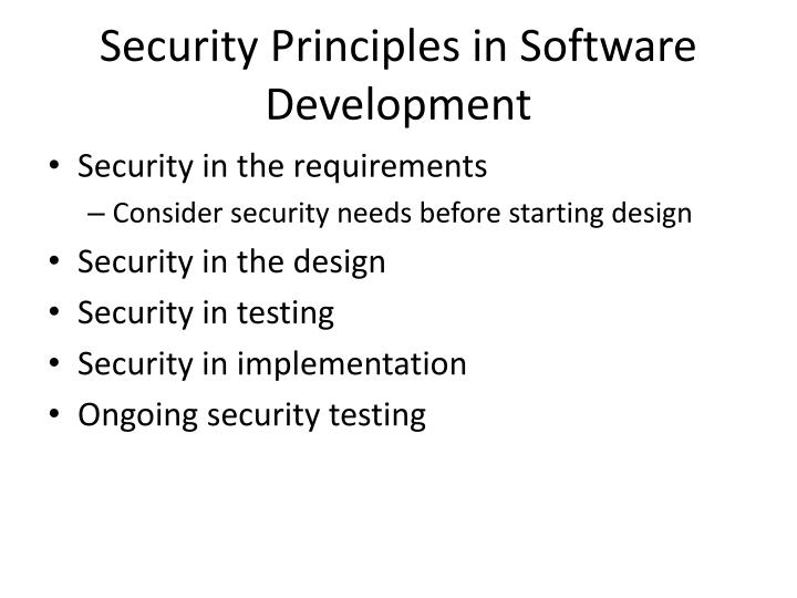 Security Principles in Software Development