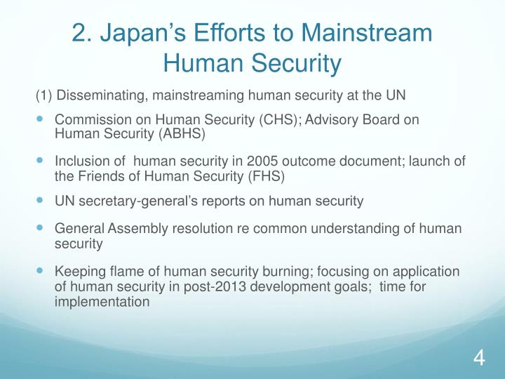 2. Japan's Efforts to Mainstream Human Security