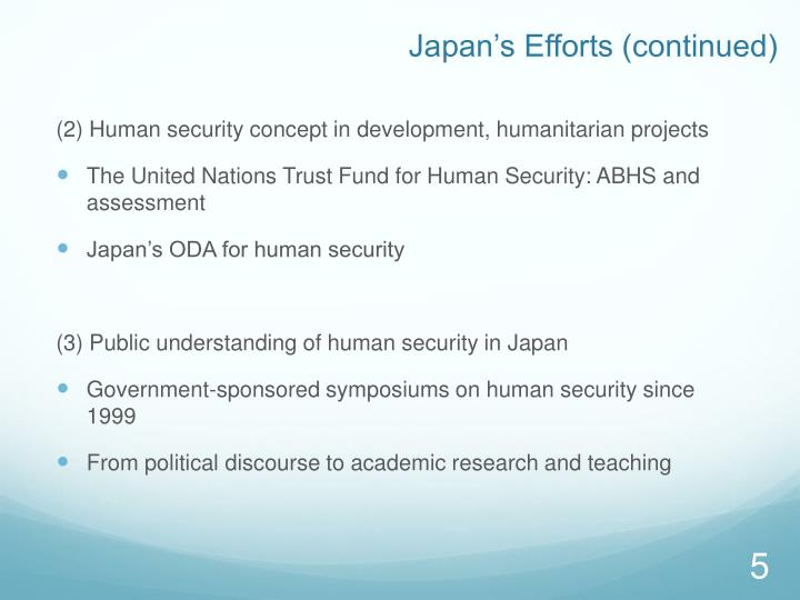 Japan's Efforts (continued)