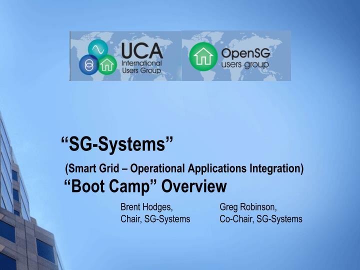 Sg systems smart grid operational applications integration boot camp overview