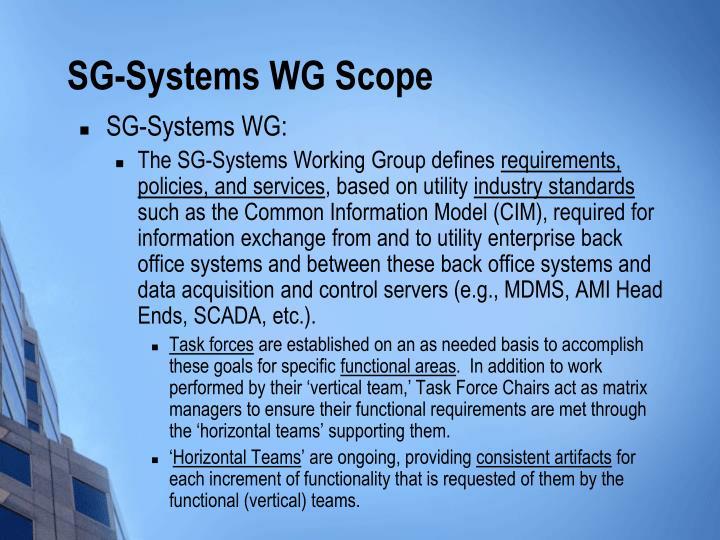 SG-Systems WG: