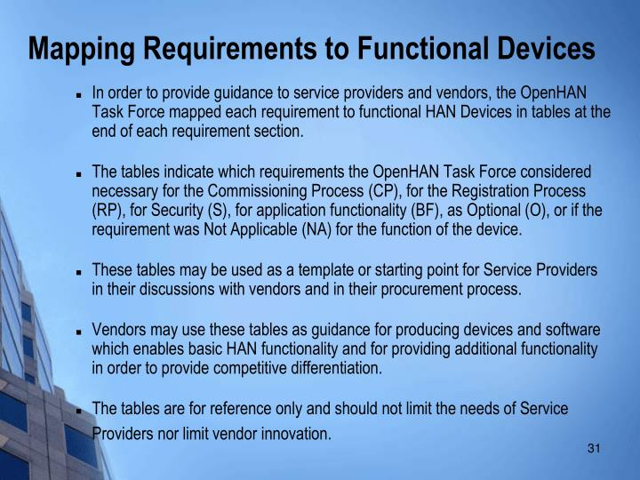 In order to provide guidance to service providers and vendors, the OpenHAN Task Force mapped each requirement to functional HAN Devices in tables at the end of each requirement section.