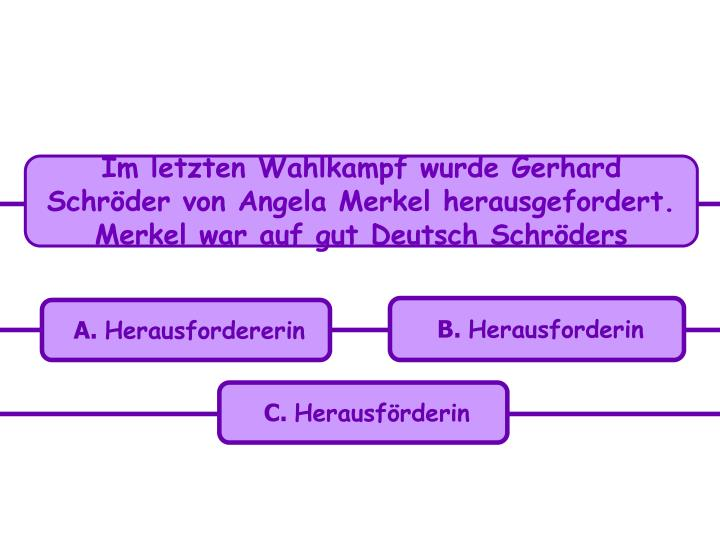 Im letzten Wahlkampf wurde Gerhard Schröder von Angela Merkel herausgefordert. Merkel war auf gut Deutsch Schröders