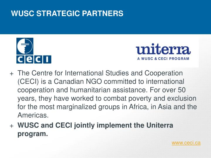 WUSC STRATEGIC PARTNERS