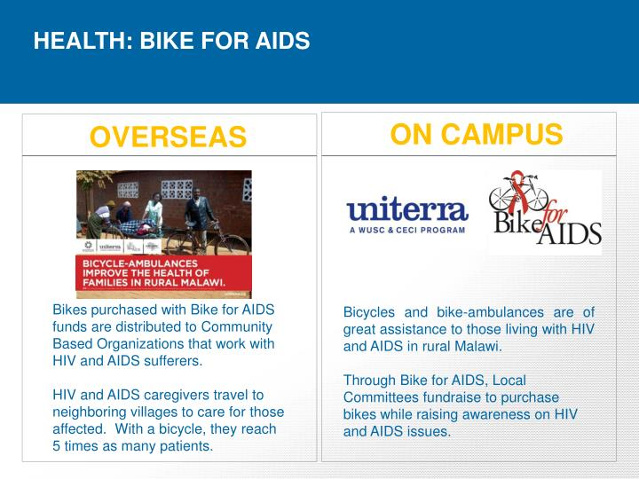 HEALTH: BIKE FOR AIDS
