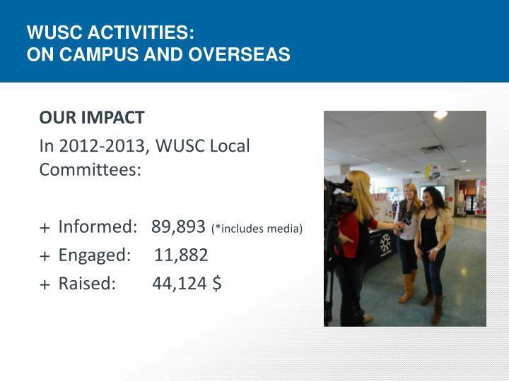 WUSC ACTIVITIES: