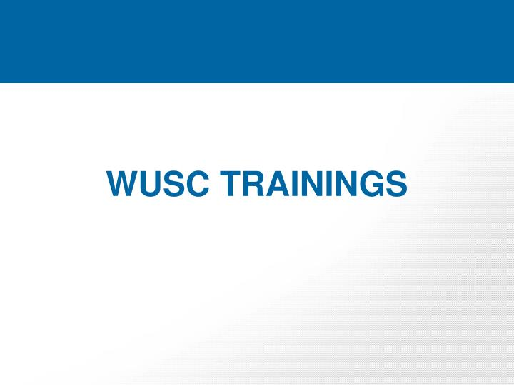 WUSC TRAININGS