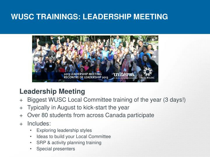 WUSC TRAININGS: LEADERSHIP MEETING