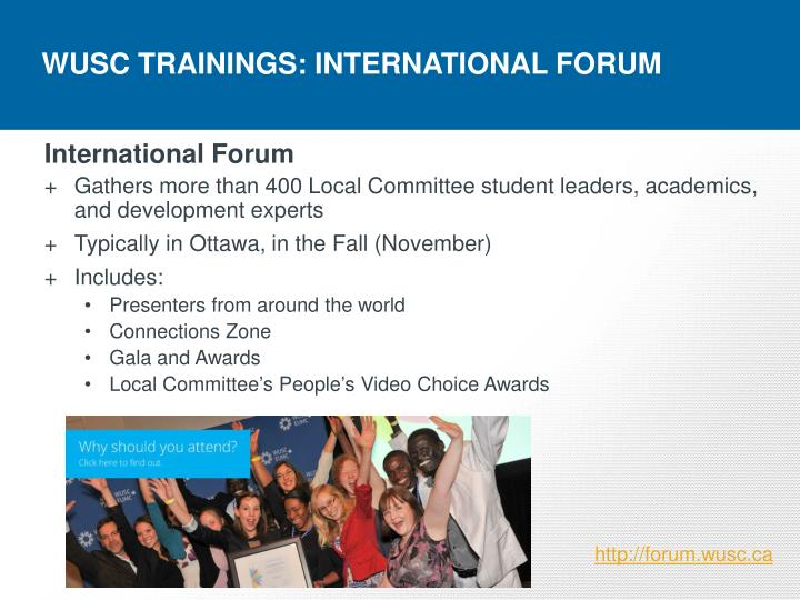 WUSC TRAININGS: INTERNATIONAL FORUM