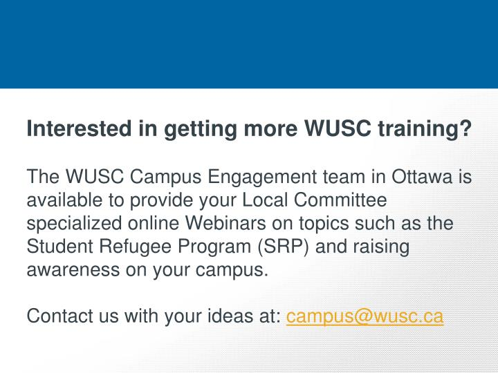 Interested in getting more WUSC training?