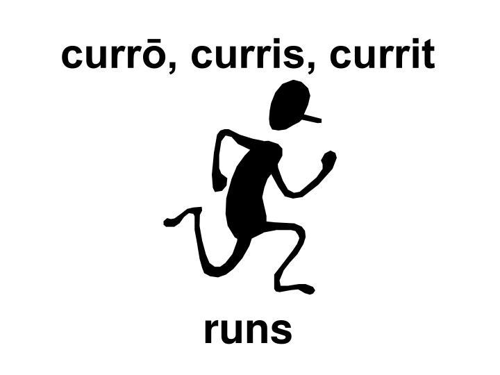 currō, curris, currit