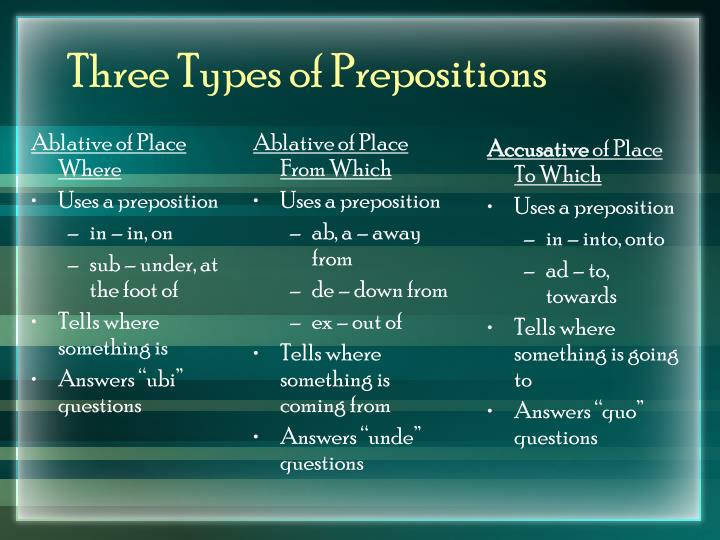 Three types of prepositions