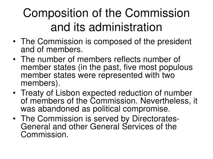 Composition of the Commission and its administration