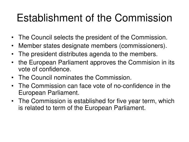 Establishment of the Commission