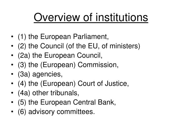 Overview of institutions