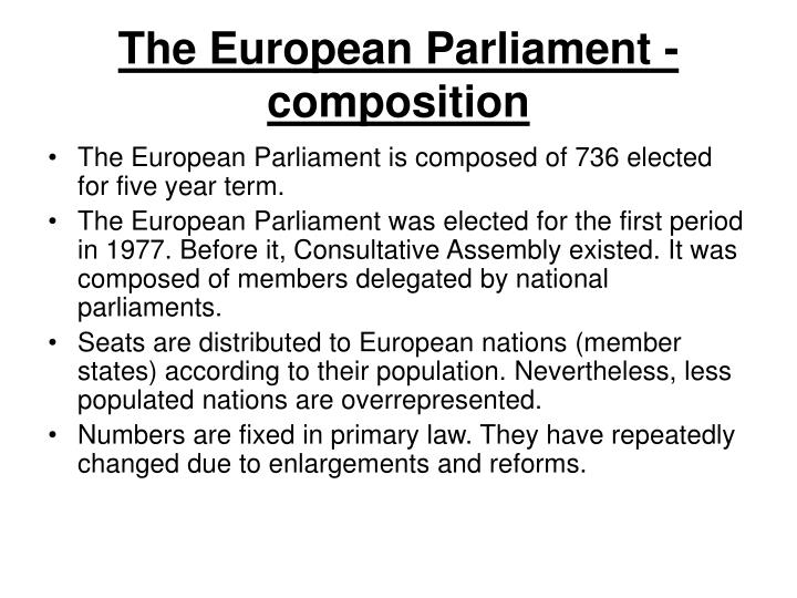 The European Parliament - composition