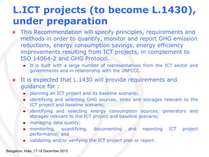 L.ICT projects (to become L.1430), under preparation