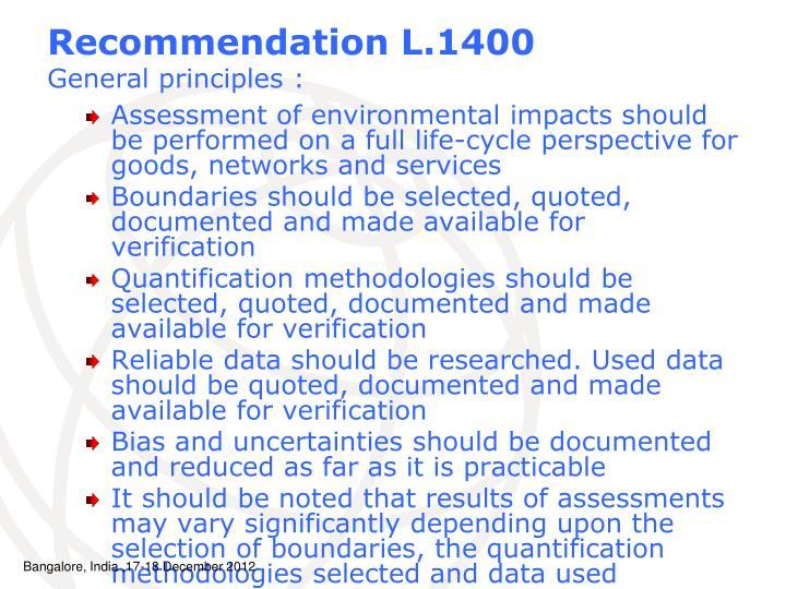 Recommendation L.1400