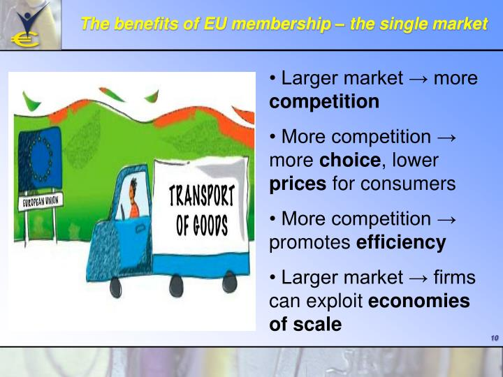 The benefits of EU membership – the single market