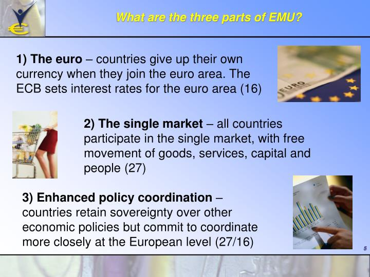 What are the three parts of EMU?