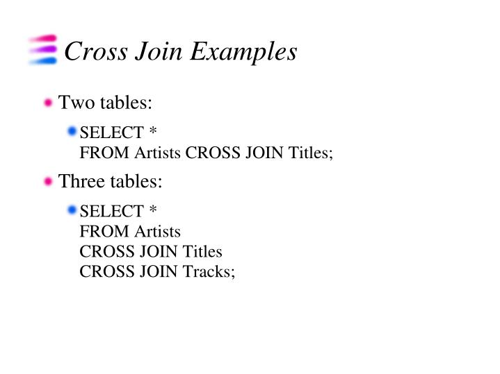 Cross Join Examples