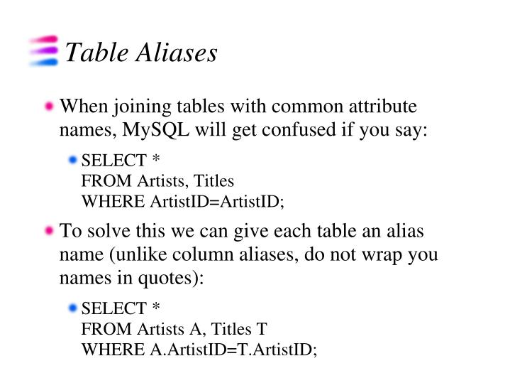 Table Aliases