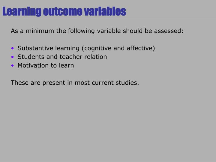 Learning outcome variables