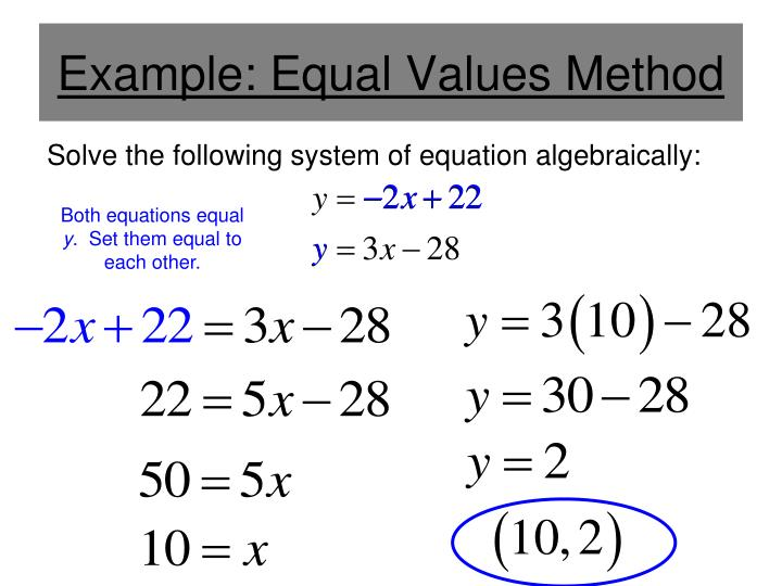 Example equal values method