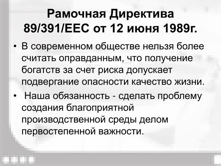 Рамочная Директива 89/391/ЕЕС от 12 июня 1989г.