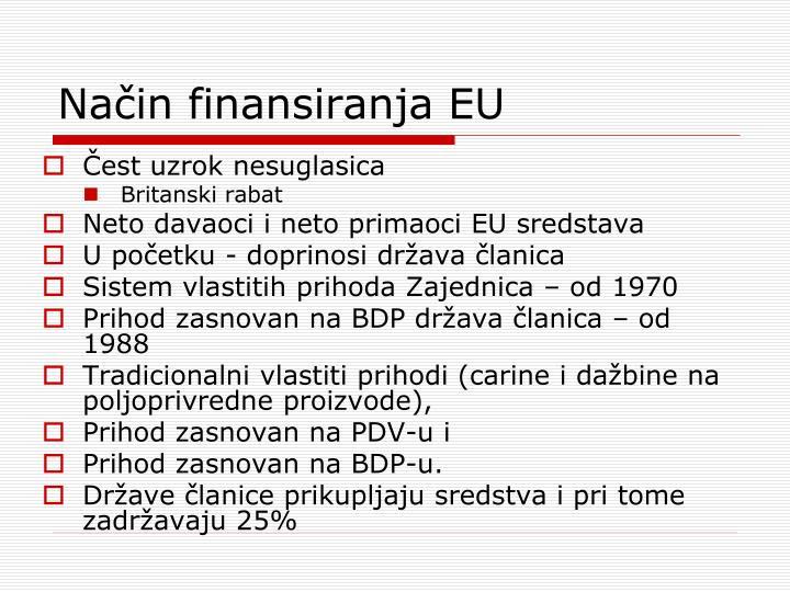 Način finansiranja EU