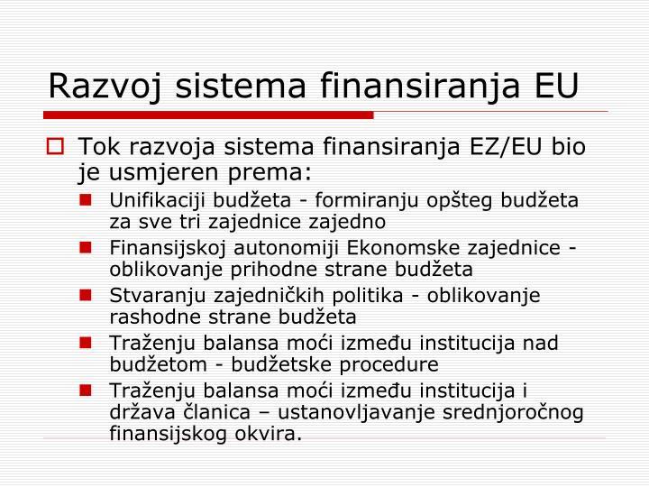 Razvoj sistema finansiranja EU